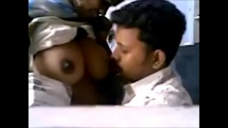 tamil lover kiss and boob press